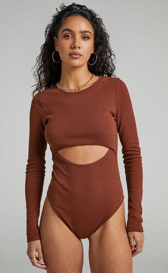 Mavis Long Sleeve Bodysuit in Chocolate