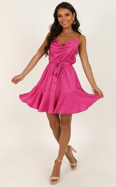 Like You Never Know Dress In Hot Pink Satin