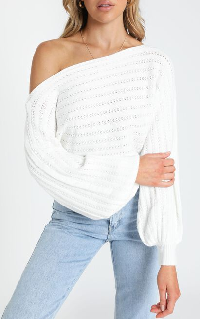Alessi Cable Detail Knit in White - S/M, White, hi-res image number null