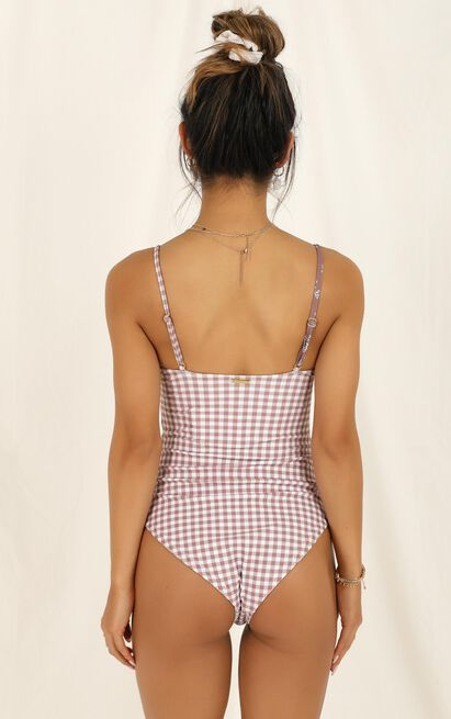 Tamika one piece in mocha floral gingham - 20 (XXXXL), Mocha, hi-res image number null