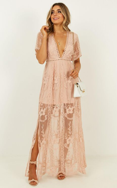 Love Spell Maxi Dress In Blush Lace