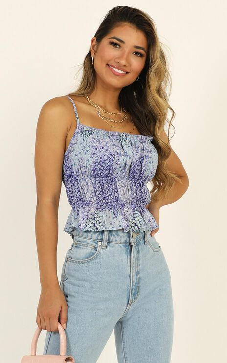 Letters Of Love Top In Blue Floral
