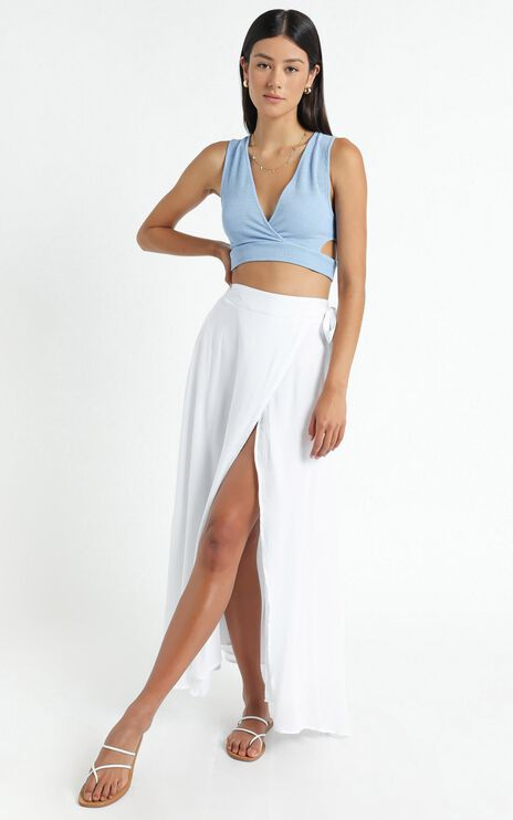 Break A Leg Maxi Skirt In White