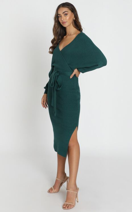 Over The World Knit Dress In Forest Green