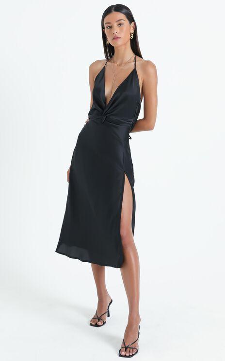 Florentina Dress in Black Satin