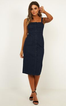 Bronwyn Denim Dress In Dark Blue Wash