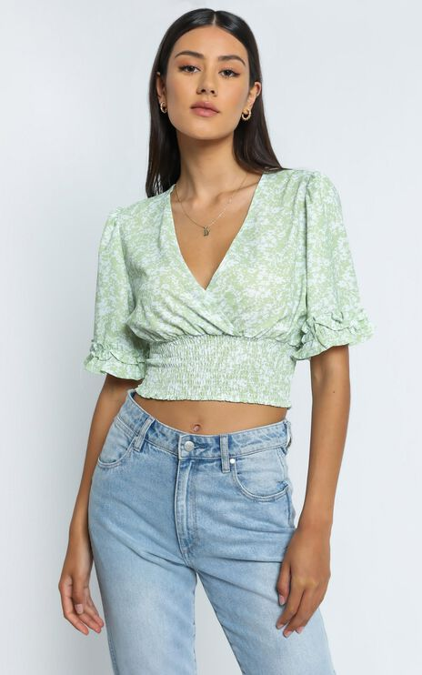 Parker Top in Green Floral