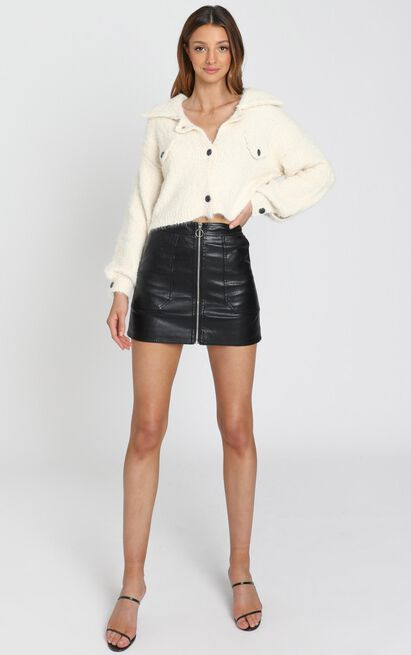 Cecilie Zip Through Skirt in Black Leatherette - 6 (XS), Black, hi-res image number null