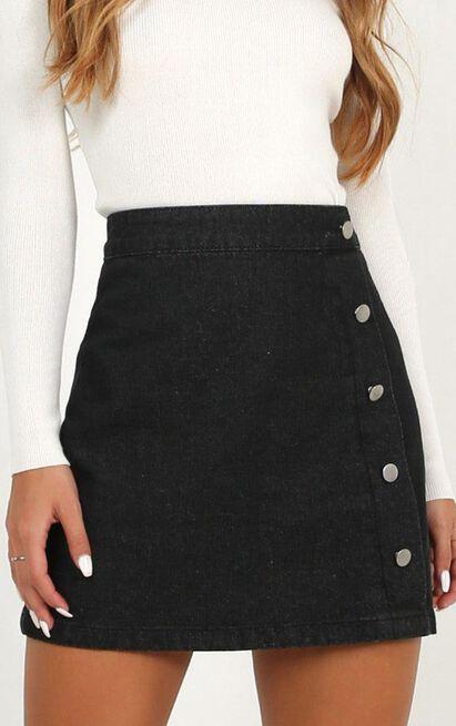 Crazy Feeling Denim Skirt In black wash - 20 (XXXXL), Black, hi-res image number null