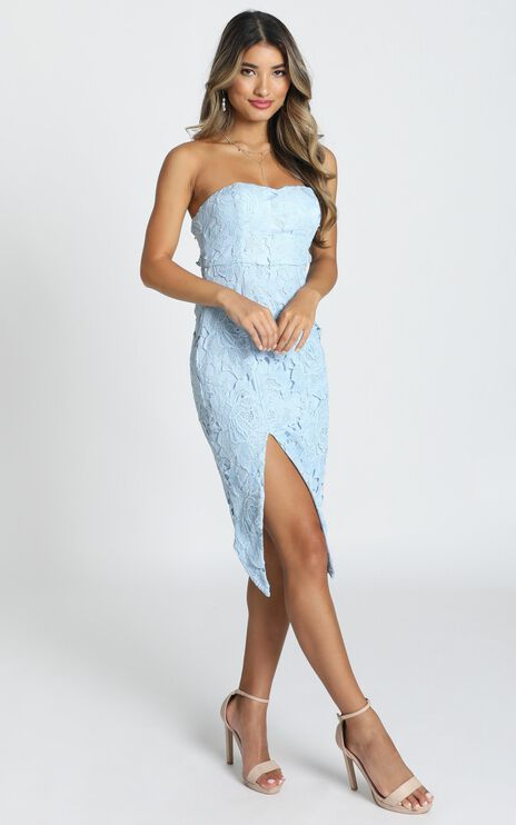 Lace To Lace Dress In Dusty Blue Lace