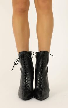 Therapy - Paisley Boots In Black Croc