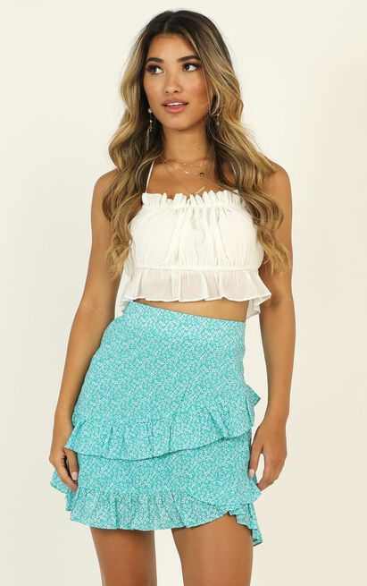 Know A Secret skirt in blue print - 6 (XS), Blue, hi-res image number null