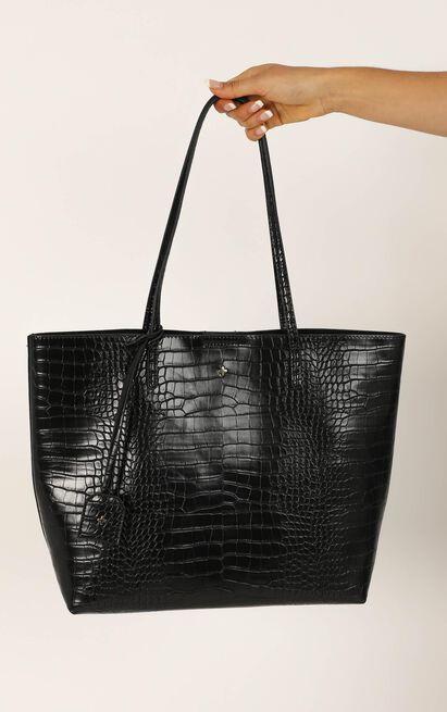 Peta and Jain - Saint Tote Bag In Black Croc, Black, hi-res image number null