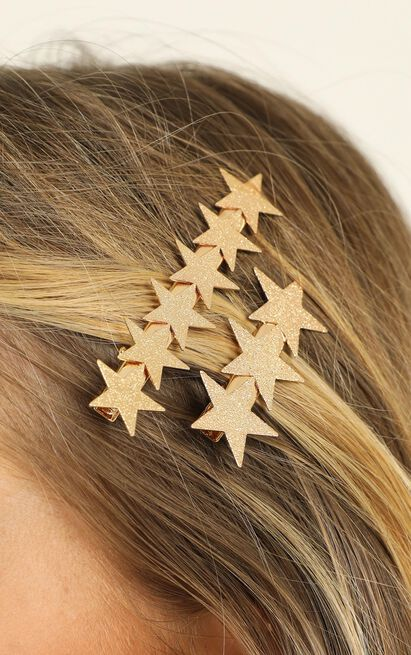 Biggest Star Hair Clip Pack In Gold, , hi-res image number null