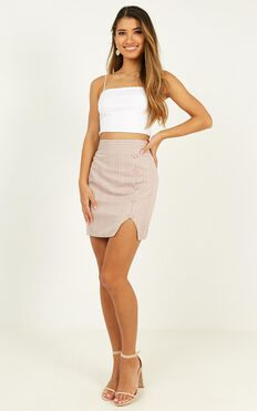 Cancelled Plans Skirt In Blush Check