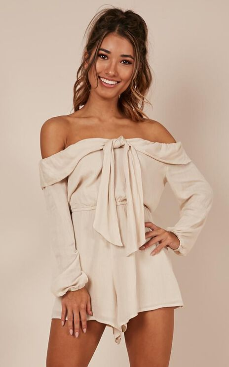 I Like That Playsuit In Natural Linen Look