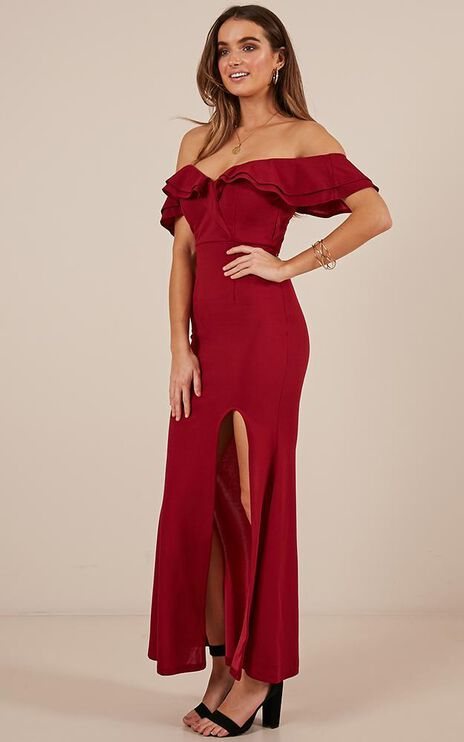 Centre Stage Maxi Dress In  Wine