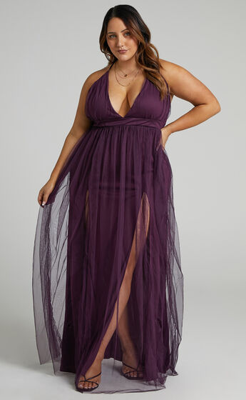 Like A Vision Plunge Maxi Dress in Aubergine Tulle