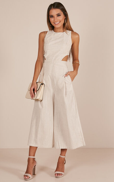 Out Dream Yourself Jumpsuit In Beige Linen Look