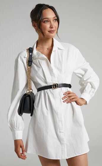 Raella Mini Button Up Shirt Dress in White