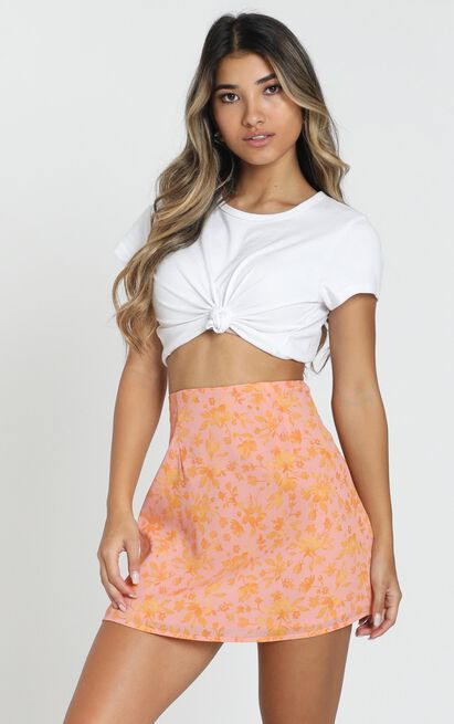 Only Offer skirt in pink floral - 20 (XXXXL), Pink, hi-res image number null