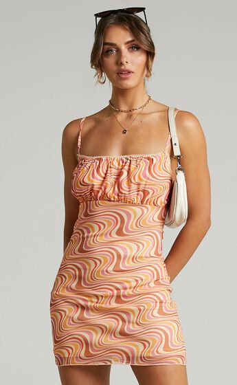 Sherece Mesh Mini dress with Ruched Bust in Multi Swirl
