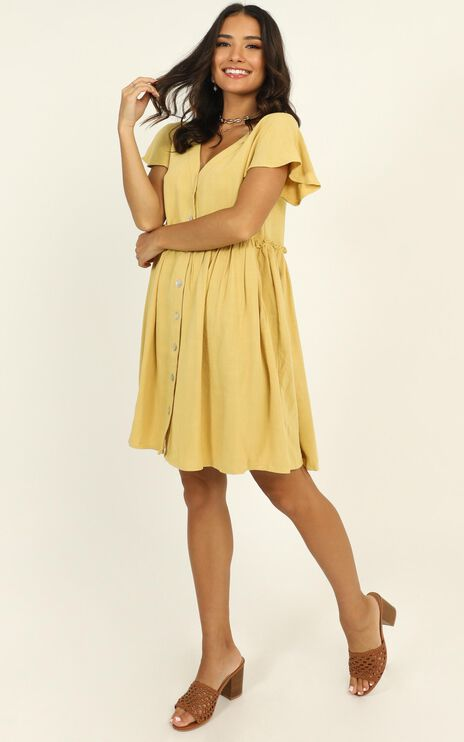 Want Attention Dress in Mustard