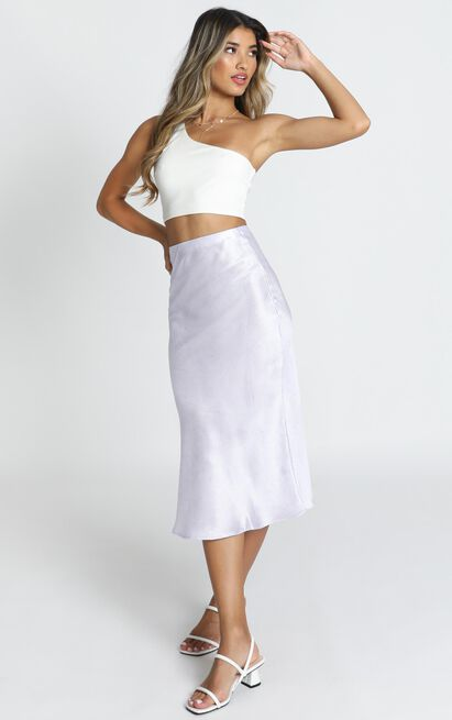 Tonight Is Ours skirt in lilac floral satin - 12 (L), Purple, hi-res image number null