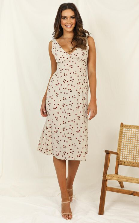 On A Pedestal Dress In Cream Print