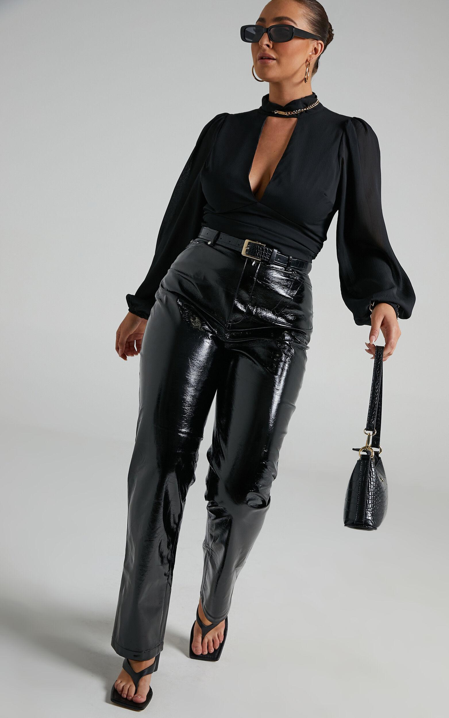 Ashton Straight Leg PU Pants in Black - 06, BLK1, super-hi-res image number null