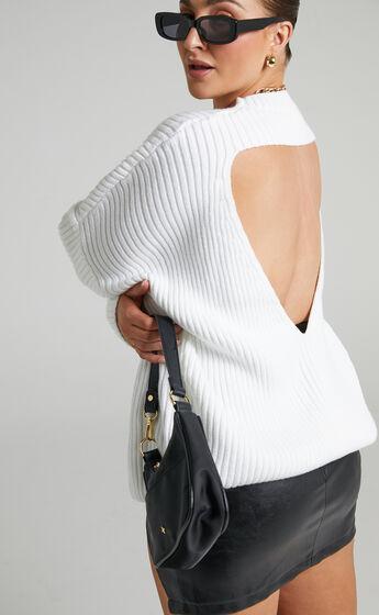Julietta Back Cut Out Knit Jumper in White