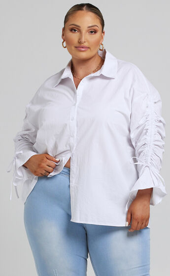 Melli Longsleeve Ruched Shirt in White