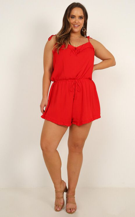 Certain Favour Playsuit In Red