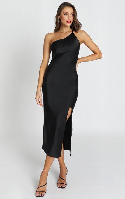 Look me Up dress in black satin - 16 (XXL), Black, hi-res image number null