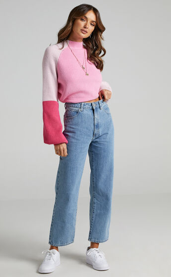 Kensley Long Sleeve Knit Jumper in Pink
