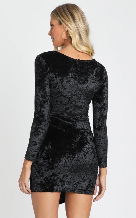 Carli Long Sleeve Mini Dress in Black Velvet