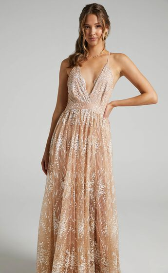 Her Crystal Eyes Maxi Dress in Rose Gold Glitter Tulle