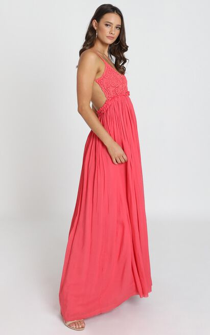 When In Rome Backless Maxi Dress In Coral Lace - 12 (L), Red, hi-res image number null