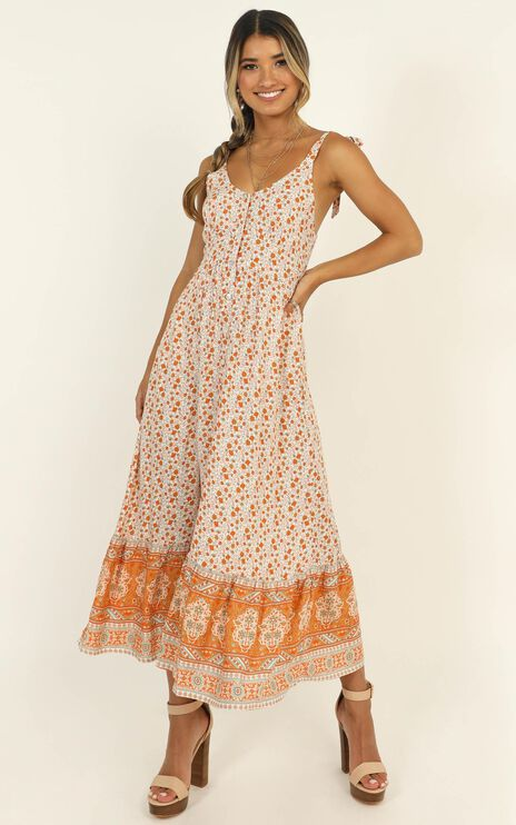 Golden Summer Midi Dress In Orange Floral
