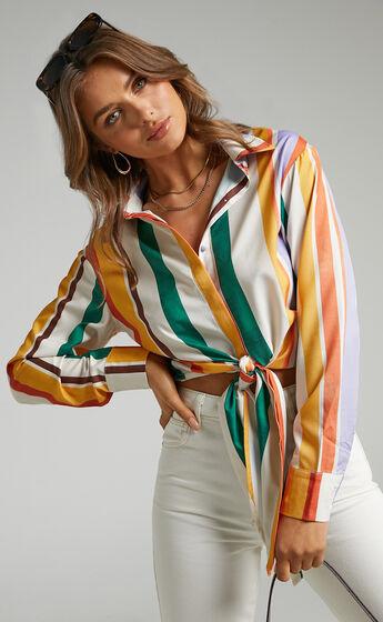 Amelie Tie Front Top in Multi Stripe