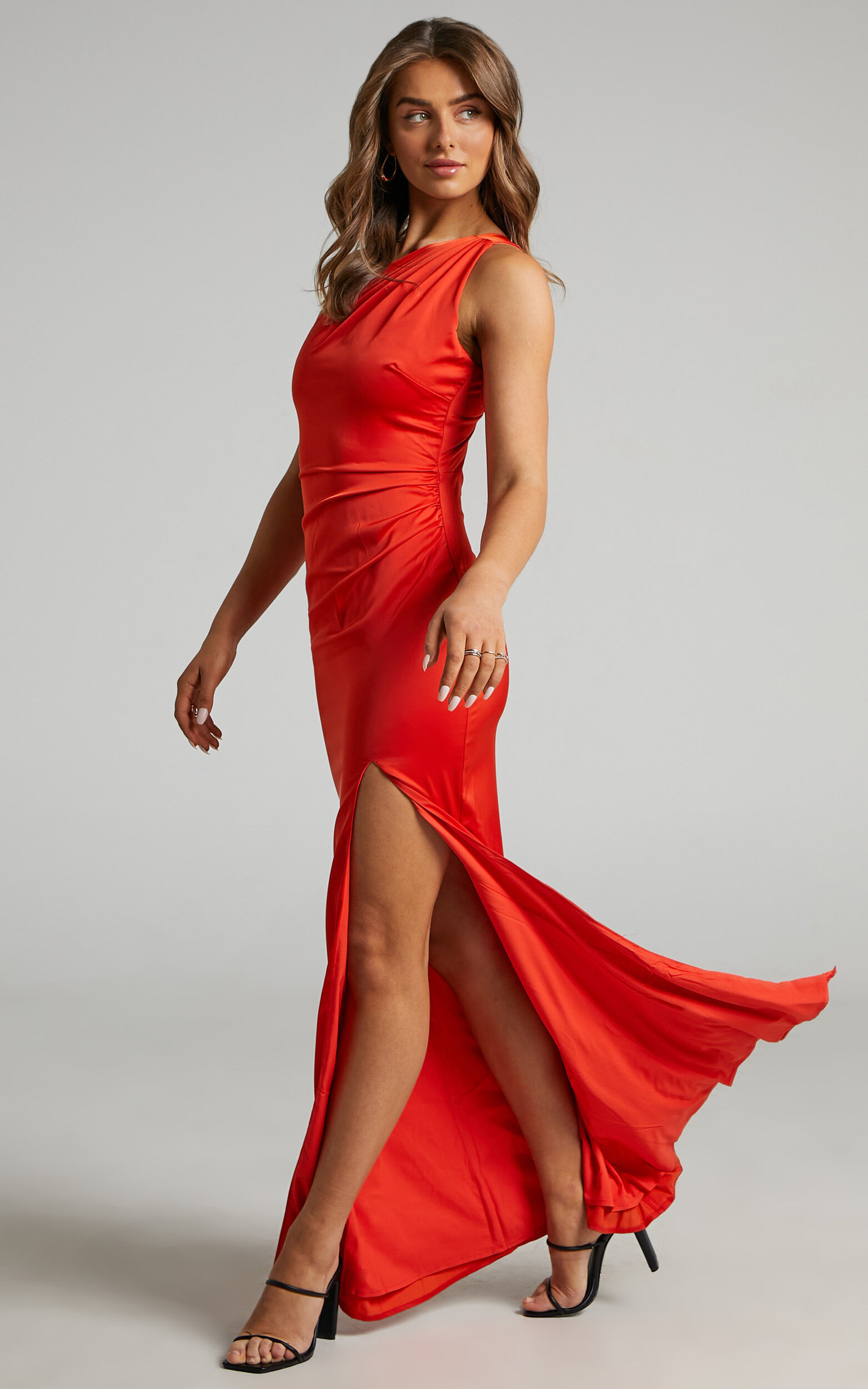 Victoire One Shoulder Maxi Dress in Oxy Fire Satin - 04, ORG2, super-hi-res image number null
