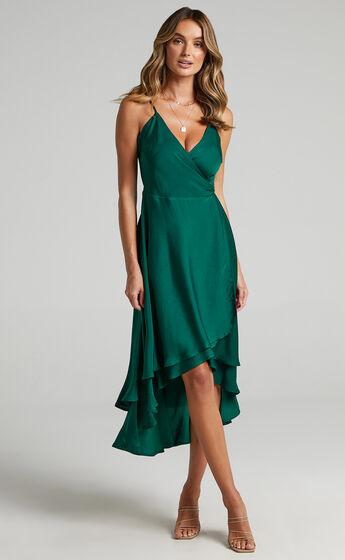 Between Fantasy Midi Dress in Emerald Satin