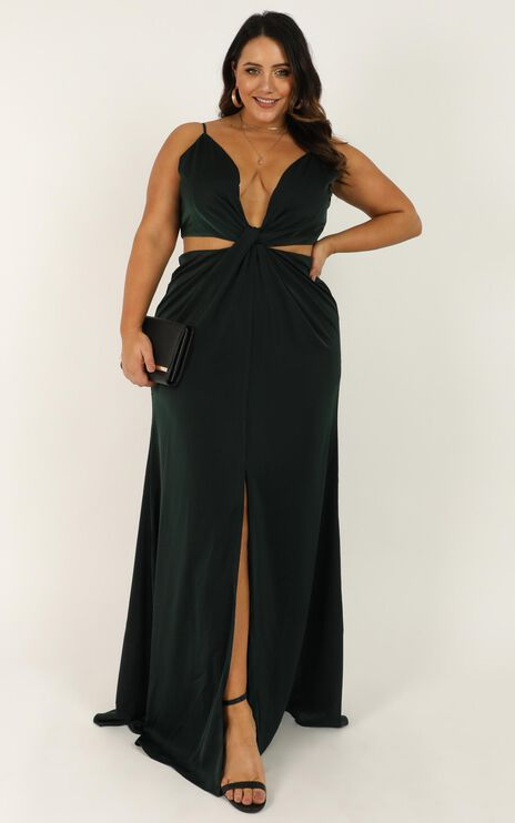 Simple Twist Of Fate Dress In Emerald Satin
