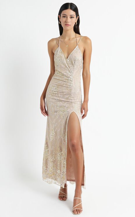 At A Crossroad Maxi Dress In Gold