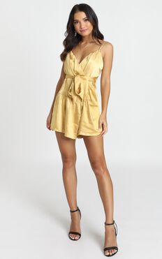 Mirror Image Wrap Playsuit In Mustard Satin