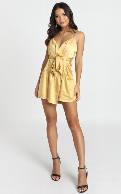 Mirror Image Wrap Playsuit in mustard satin - 12 (L), Yellow, hi-res image number null