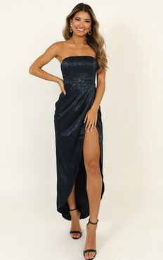 Dream Of You Dress In Navy Jacquard