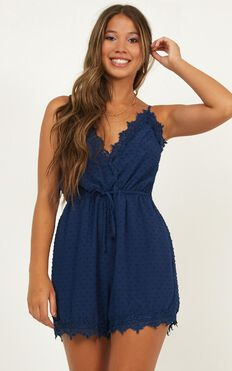 Almost Home Playsuit In Navy