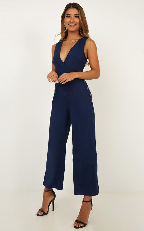 Clear As Crystal Jumpsuit In Navy Linen Look