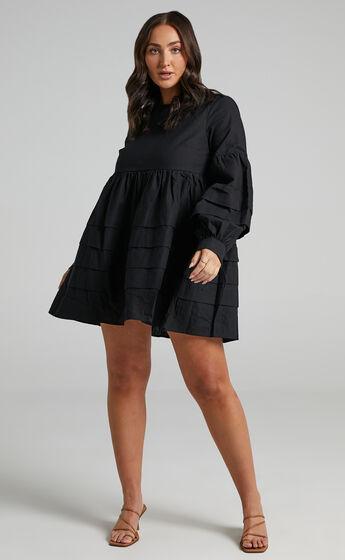 Jefferies Long Sleeve Pin Tuck Dress in Black